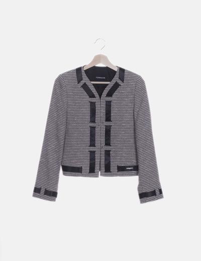 Blazer tricot combinada lazo satinado