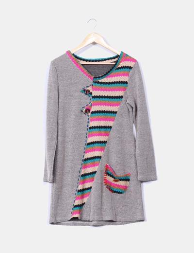Vestido de punto con detalles multicolor NoName