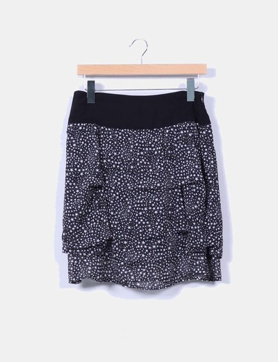 Falda negra print estrellas Zara