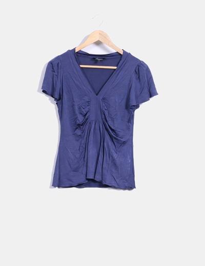 Camiseta azul licra cuello pico Piluca Barrero