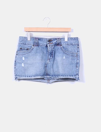 Mini falda denim con rotos Pull&Bear
