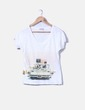 T-shirt blanc col en v Cortefiel