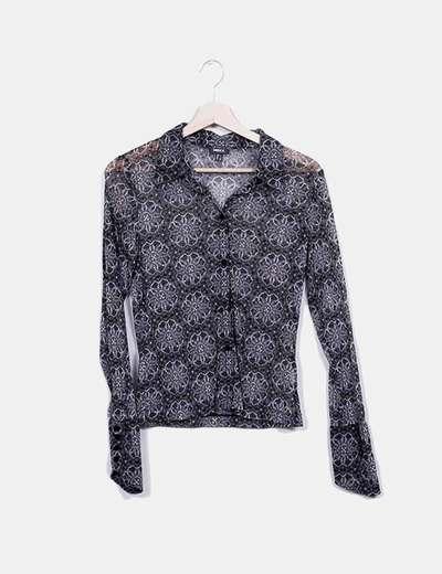 T-shirt gris et noir imprimé Mexx