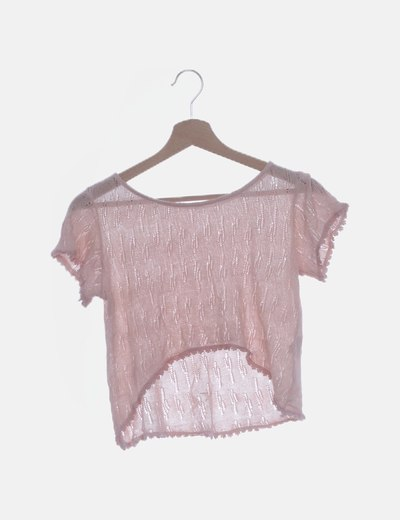 Camiseta crop rosa palo