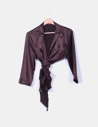 Blusa marrón satinada cruzada RSL