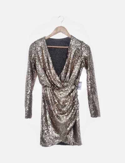 Vestido cruzado gold paillettes