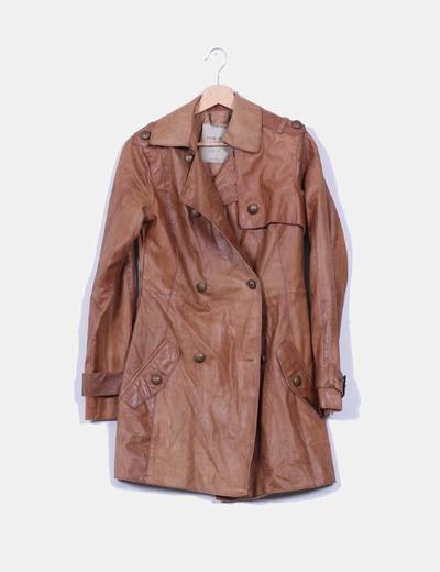 Abrigo marrón de piel Pepe Jeans