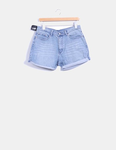 Shorts denim azul con dobladillo