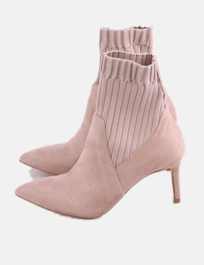 Botín calcetín rosa con tacón