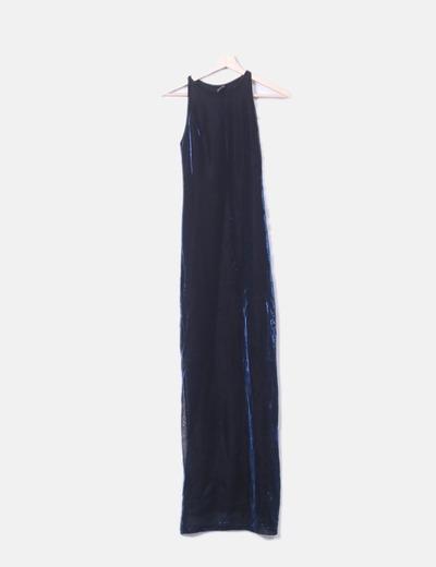 Vestido maxi negro elástico irisado azul