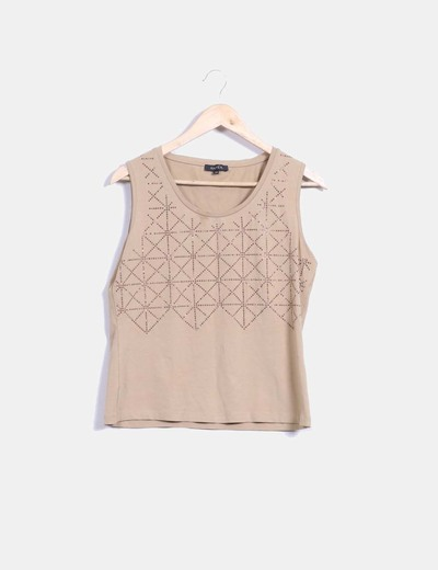 Top beige strass
