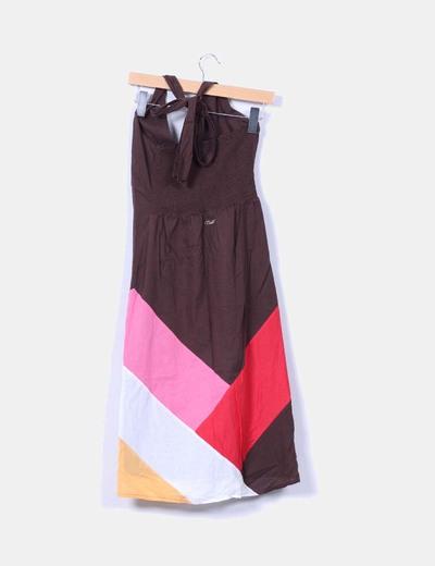 Vestido halter colorblock