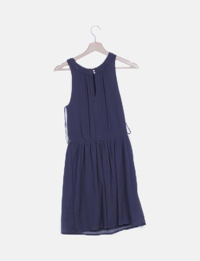 Vestido azul marino detalle paillettes y abalorios
