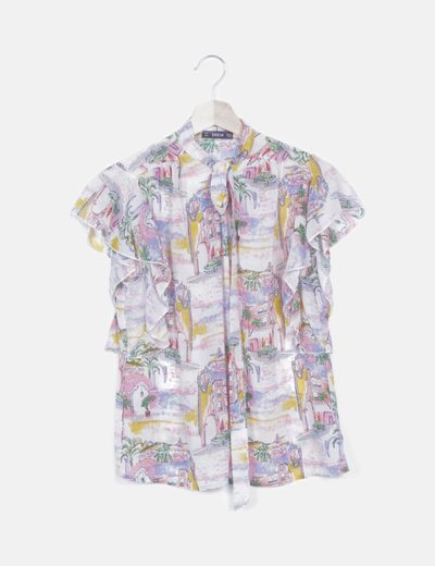 Camisa print multicolor lace up