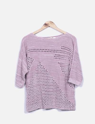 Camisola de malha cor-de-rosa marmoreada Suiteblanco
