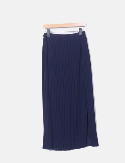 Falda maxi azul marino plisada con aberturas