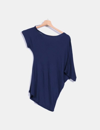 Camiseta asimetrica azul marino