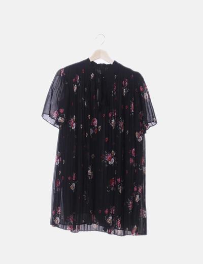 Vestido canalé negro floral