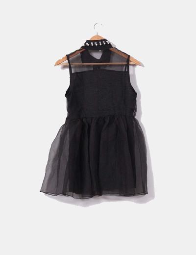 9190930a5 NoName Mini vestido negro con perlas en el cuello (descuento 62%) - Micolet