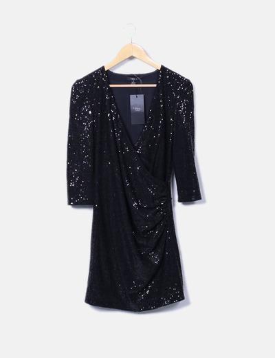 Vestido negro de lentejuelas Sfera