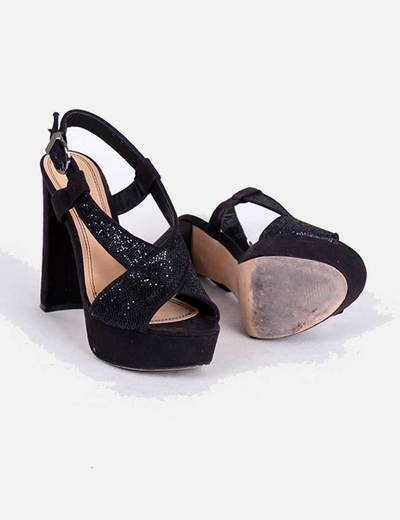 Marypaz Sandalia negra con brillos de tacón ancho (descuento 80%) - Micolet e378885294be