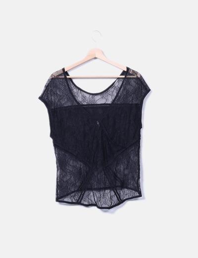 83ed7b97f Stradivarius Camiseta de encaje negra (descuento 75%) - Micolet