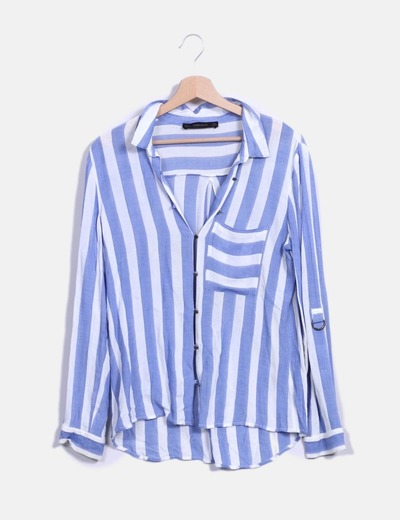 Camisa rayas azul y blanca Zara