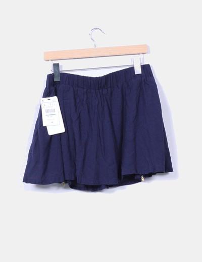Falda mini azul marino detalle cremalleras