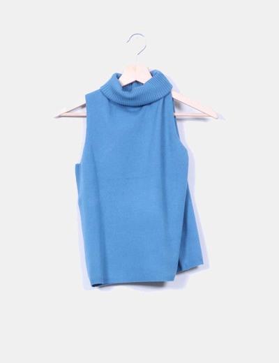 Jersey azul turquesa sin mangas con cuello vuelto NoName