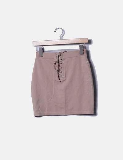 Mini falda beige lace up