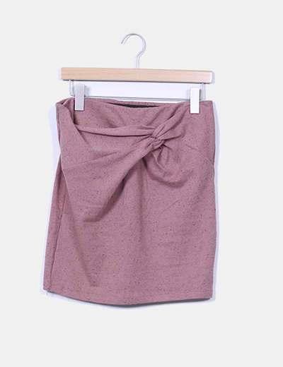 Mini falda rosa empolvado drapeado Stradivarius