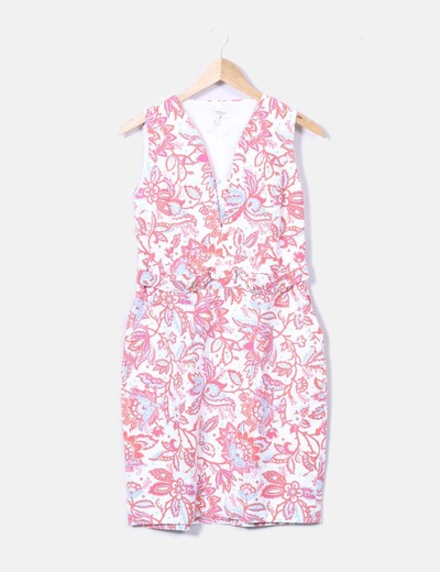 Floral print dress with buckle Cortefiel
