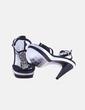 Sandalia de tacón negra y plata con strass Ana Sousa