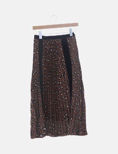 Falda midi plisada animal print