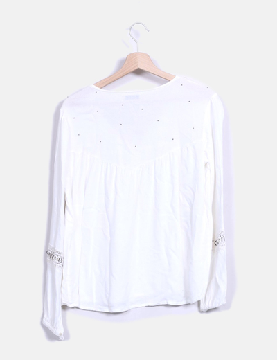 Blusa manga larga combinada con pedreria