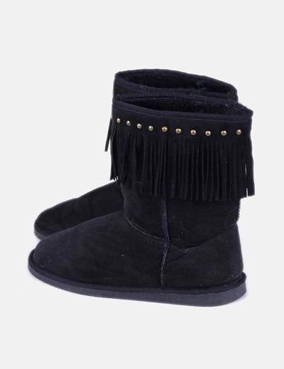 Bottes noires esquimaux à franges et des ongles Suiteblanco