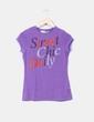 Camiseta morada letras bordadas Zara