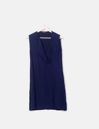 Vestido azul marino con escote cruzado Massimo Dutti