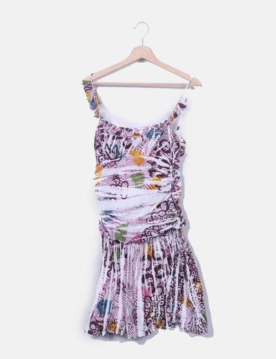 Vestido print escote avolantado