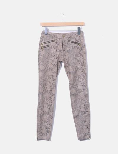 Jeans skinny imprimé serpent Zara