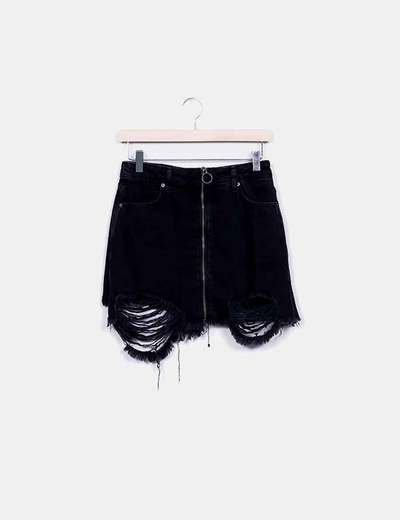 Mini falda denim negra ripped con cremallera