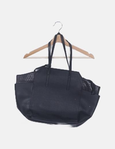 Bolso shopper negro troquelado
