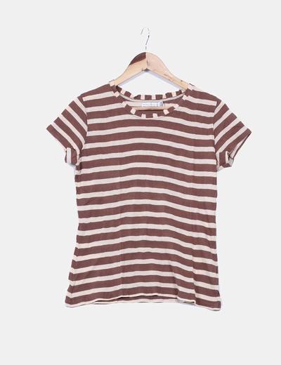 Camiseta rayas marrones Zara