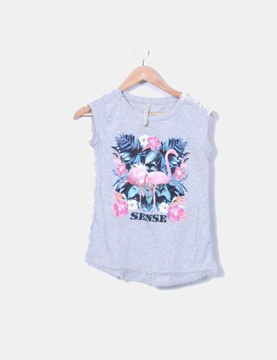 Camiseta gris print flamencos