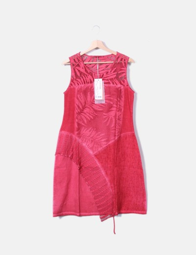Vestido combinado rojo