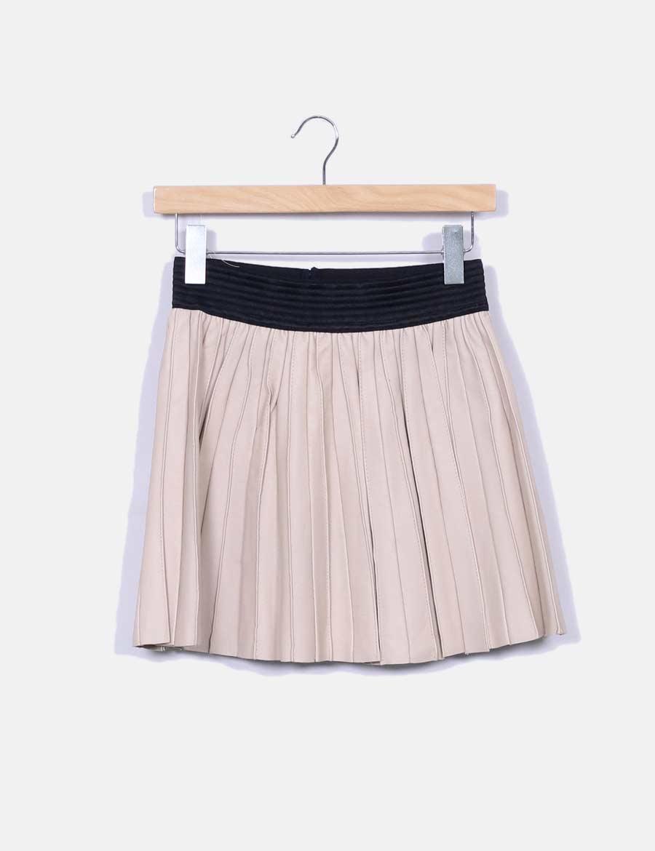b691b57b42 con Faldas baratas online texturizada Falda cinturilla beige Zara WTEqAcn  ...