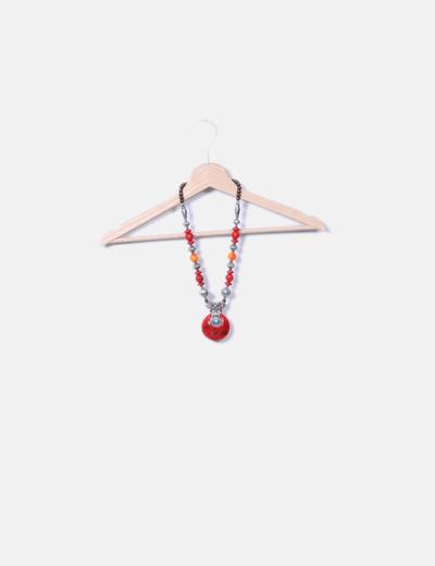 Collar medallón rojo NoName
