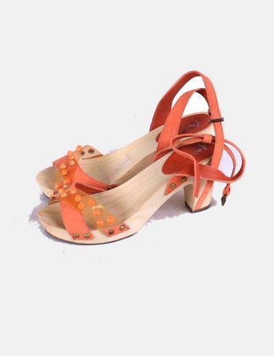 Sandalias naranjas madera Marypaz