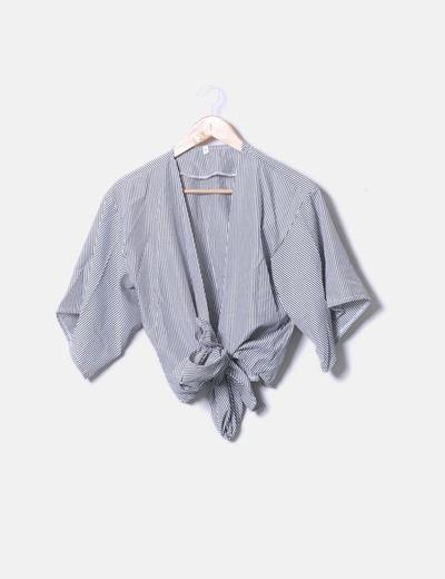 Camisa cruzada rayas negras