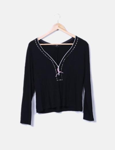 Camiseta negra fluida detalle cremallera Yera